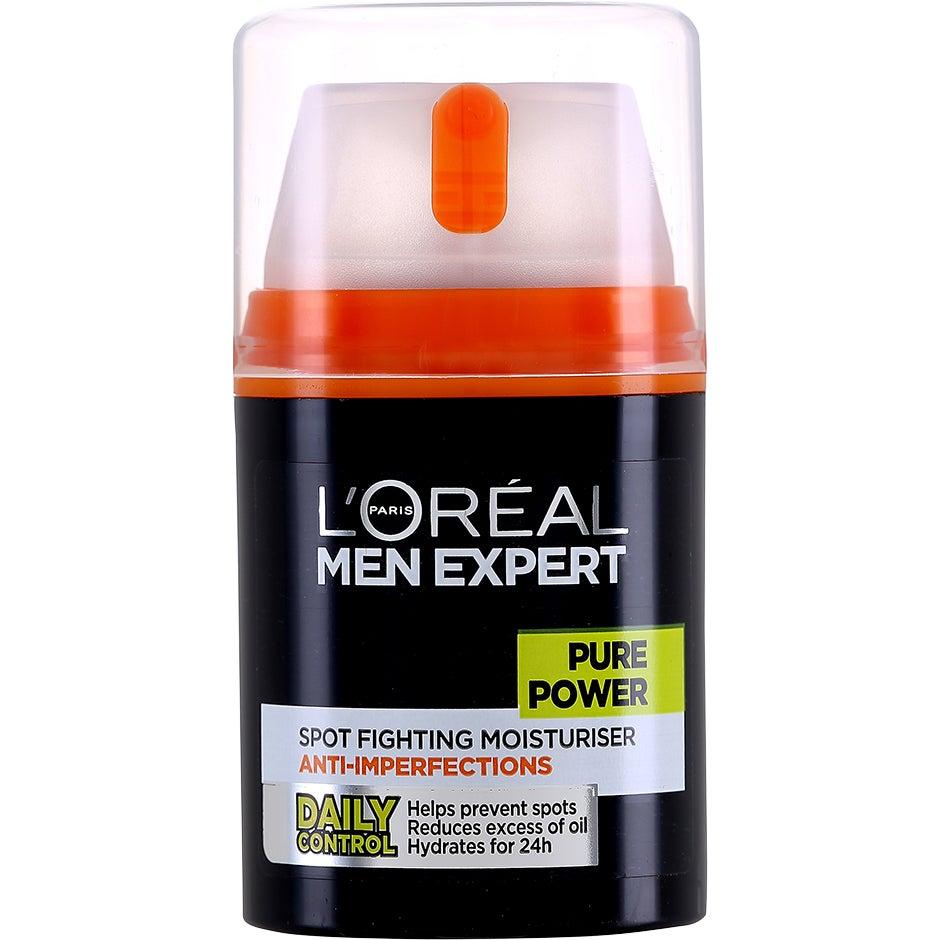Köp L'Oréal Men Expert Pure Power Spot Fighting Moisturiser Anti-Imperfections, Treating Moisturiser Anti-Breakout 50 ml L'Oréal Paris Dagkräm fraktfritt