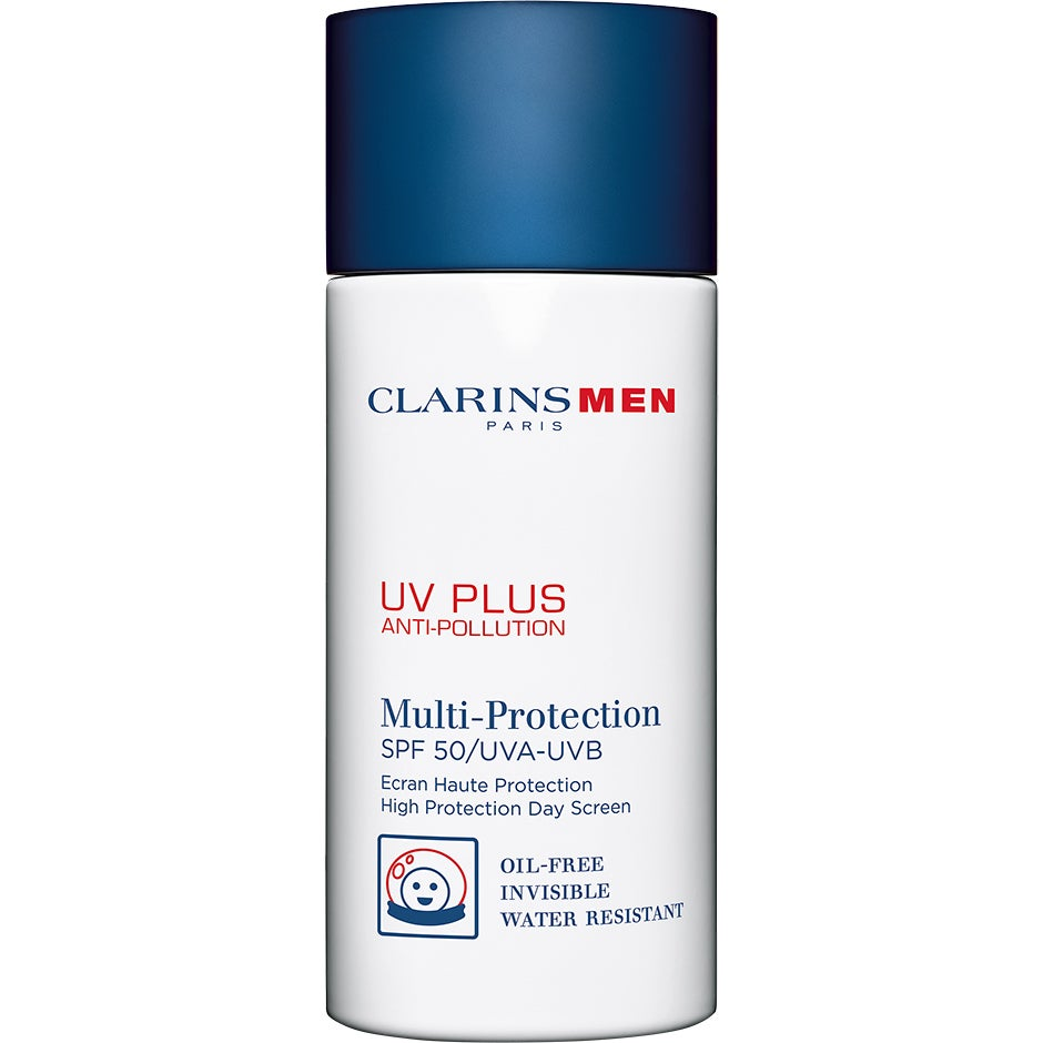 Köp Clarins Men Men UV Plus Multi-Protection SPF 50,  50 ml Clarins Men Solskydd fraktfritt