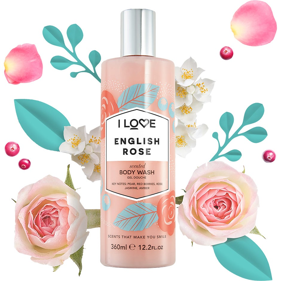 Köp English Rose, Scented Body Wash 360 ml I love… Duschcreme fraktfritt